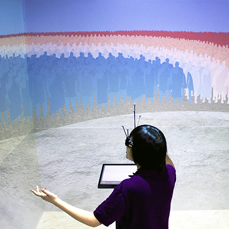 Visualization of speach given in a virtual reality cave